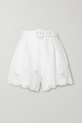 Miguelina Liana Belted Crochet-trimmed Embroidered Linen Shorts - White