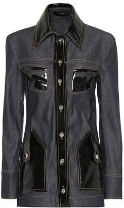 Ellery Vinyl-embellished denim jacket