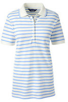 Lands' End Women's Petite Pique Polo Shirt-Ivory/Fresh Sky Stripe