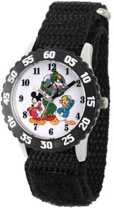Disney Mickey Mouse, Donald Duck and Goofy Boys' Stainless Steel Time Teacher Watch, Black Bezel, Black Hook and Loop Nylon Strap