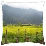 """iRocket - Beautiful Mustard crops on the way - Throw Pillow Cover (24"""" x 24"""", 60cm x 60cm)"""