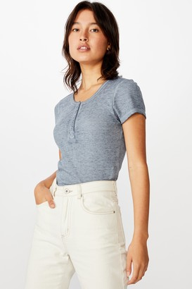 Cotton On Tay Waffle Henley Short Sleeve Top