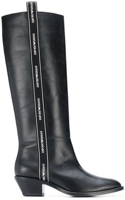 Emporio Armani Logo Trim Boots