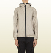 Gucci Women's Grey Gummy Leather Hooded Jacket From Viaggio Collection