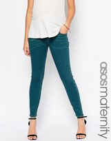 Asos Ridley Skinny Jeans In Bergamot Wash With Under The Bump Waistband