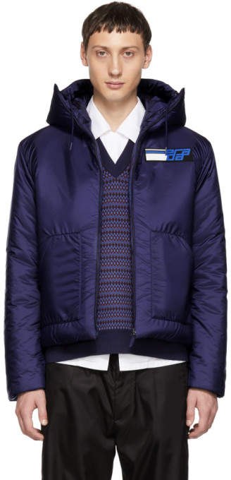 Prada Blue Nylon Logo Jacket