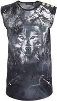 Balmain Drilled Wolf Print Grey Tank Top