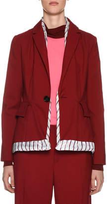 Marni One-Button Wool Jacket w/ Striped Trim