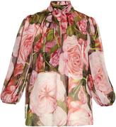 Dolce & Gabbana Rose-print chiffon blouse