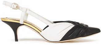 Emilio Pucci Twist-front Two-tone Leather Slingback Pumps