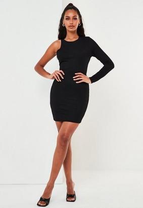 Missguided Black One Sleeve Mini Dress