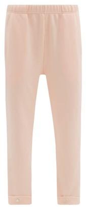 LES TIEN Snap-front Brushed-back Cotton Track Pants - Light Pink