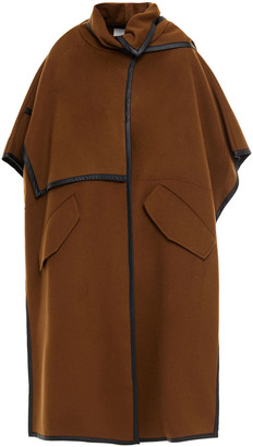 LVIR Faux Leather-trimmed Wool-blend Felt Cape