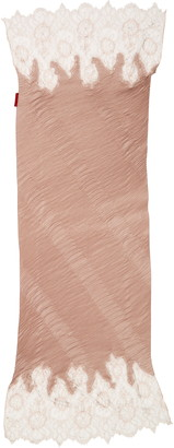 Valentino Crystal Embellished Lace Metallic Plisse Scarf