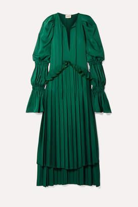 KHAITE Cara Oversized Ruffled Pleated Satin-crepe Maxi Dress - Emerald
