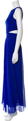 Nicole Miller Crew Neck Long Dress Blue