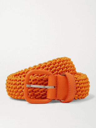 Charvet 3cm Blue Leather-Trimmed Woven Belt - Men - Orange