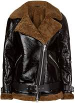 AllSaints Hawley Shearling Biker Jacket, White, XS