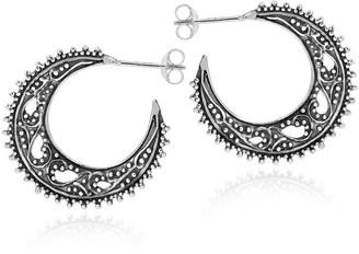 Aeravida Handmade Celestial Vintage Style Crescent Moon Sterling Silver Half Hoop Earrings