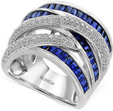 Effy Royalé Bleu Sapphire (2-5/8 ct. t.w.) and Diamond (1/2 ct. t.w.) Statement Ring in 14k White Gold