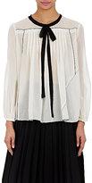 Marc Jacobs Women's Tieneck Pleated Peasant Blouse-WHITE, BLACK