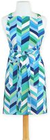 Chevron Stripe Bib Apron in Blue/Green