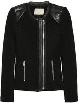 Natasha leather-trimmed chunky-knit wool biker jacket
