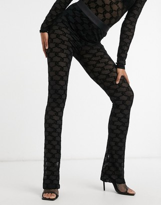 Juicy Couture co-ord flocked mesh flared logo pants in black