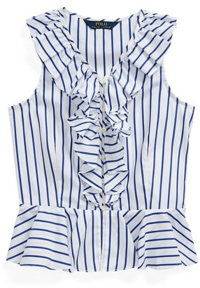 Ralph Lauren Striped Cotton Poplin Top