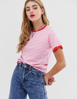 Noisy May stripe sweatshirt with contrast ringer-Pink