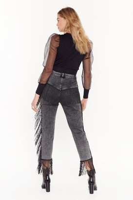 Nasty Gal Womens It's Only Rock and Roll Fringe High-Waisted Jeans - Black - 6