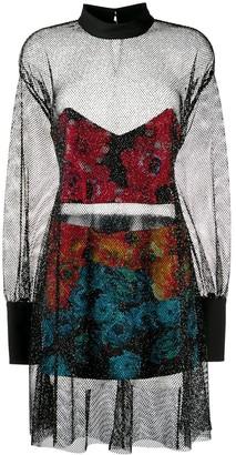 Just Cavalli Sheer Net Metallic Dress