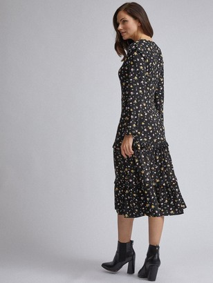 Dorothy Perkins Ditsy RuffleMidi Dress - Black