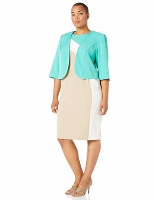 Maya Brooke Women's Plus Size Colorblocked Jacket Dress