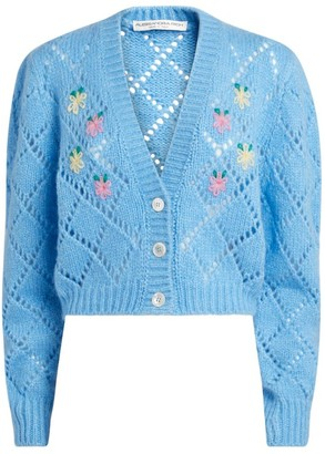 Alessandra Rich Floral-Embroidered Alpaca Cardigan