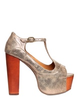 Jeffrey Campbell 120mm Foxy Metallic Open Toe Sandals