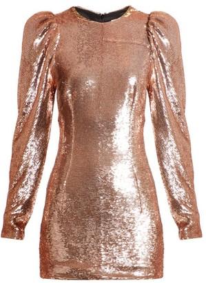 Alexandre Vauthier Puffed-sleeve Sequin Mini Dress - Womens - Light Pink