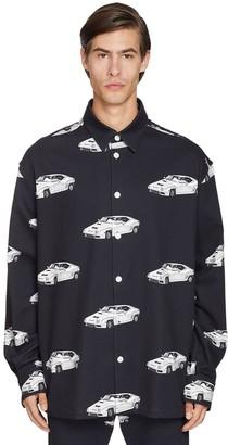 Versace Oversize Car Printed Cotton Denim Shirt