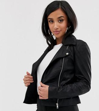 Y.A.S Petite Leather Biker Jacket-Black