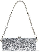 Edie Parker Flavia Glittered Acrylic Box Clutch - Silver