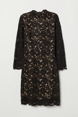 H&M Long-sleeved Lace Dress - Black