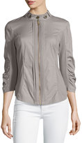 XCVI Janet Zip-Front Jacket W/Stretch Panels, Gray