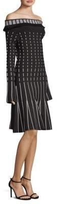 Prabal Gurung Off-The-Shoulder Long Sleeve Dress