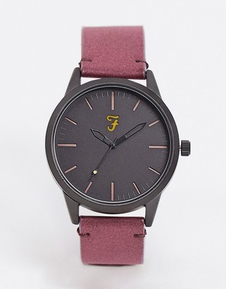 Farah classic suedette strap watch in red