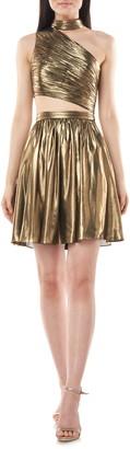 Theia Love by Metallic Chiffon Cocktail Dress