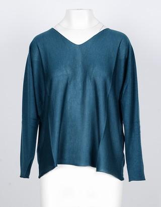 Lamberto Losani Petrol Green Cashmere and Silk Women's Sweater