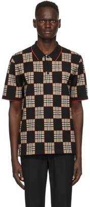 Burberry Black and Beige Merino Wool Blakeford Polo