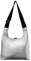 Orla Kiely Embossed Stem Leather Shoulder Bag, Silver