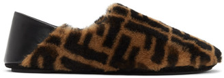 Fendi Brown Shearling Forever Loafers