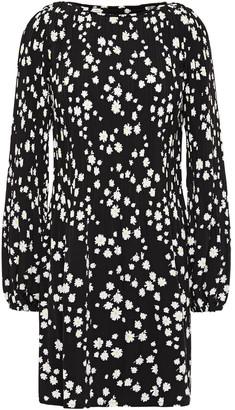 Maje Rockiz Pleated Floral-print Crepe Mini Dress